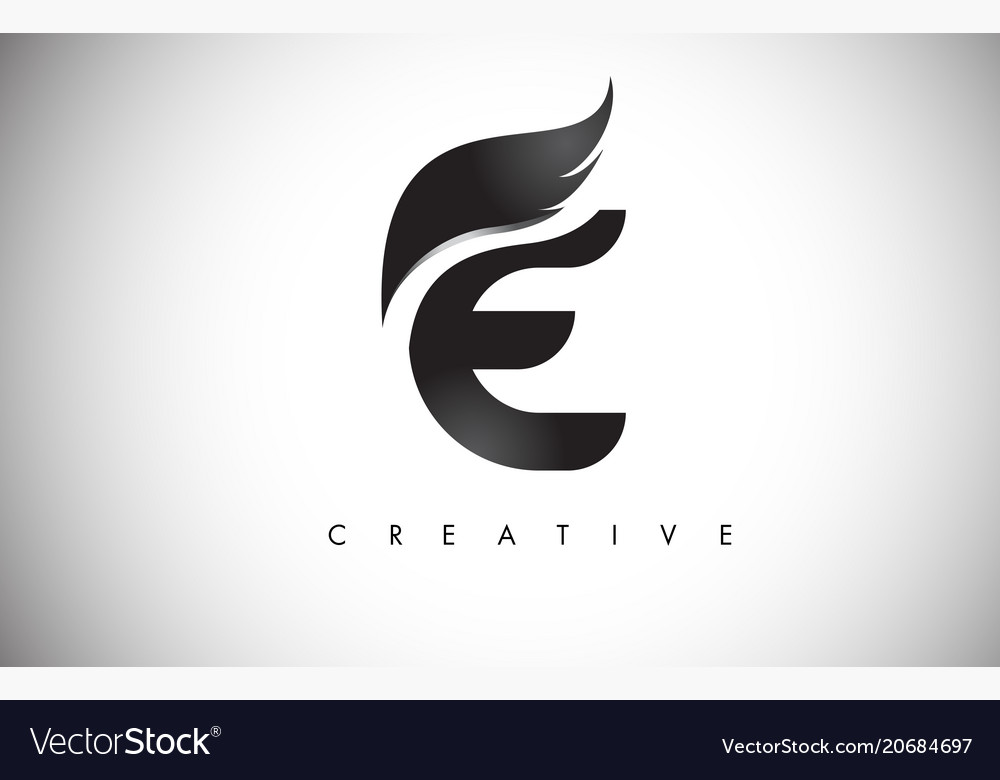 e letter wings logo design with black bird fly vector image