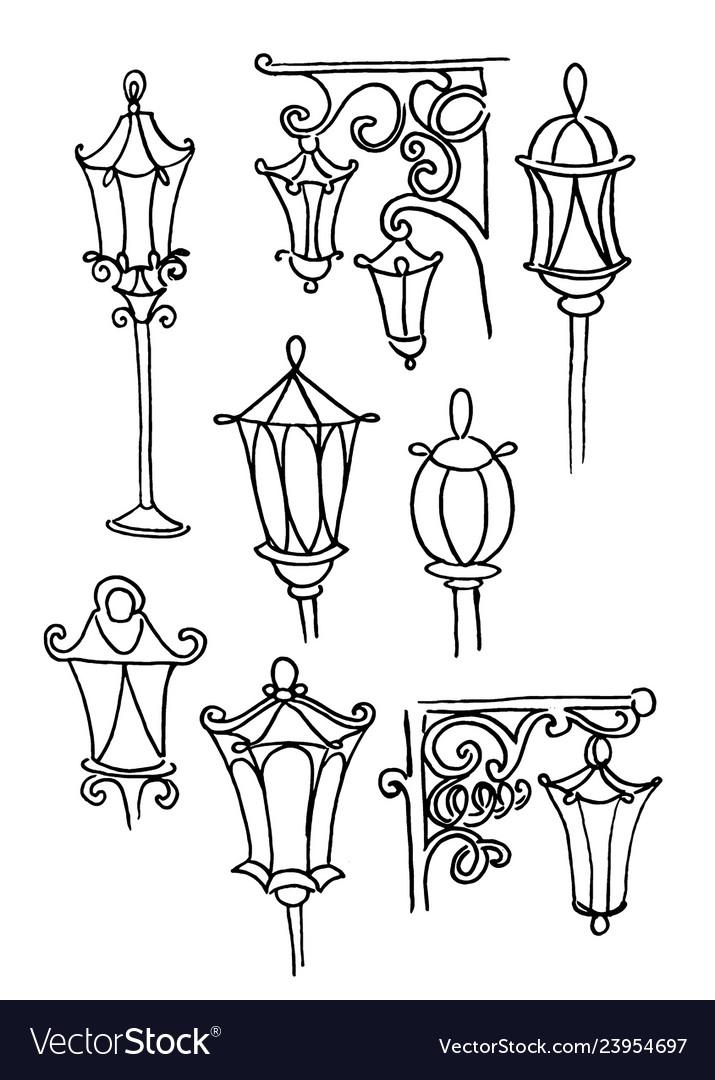 Hand drawn doodle city street lantern set ink
