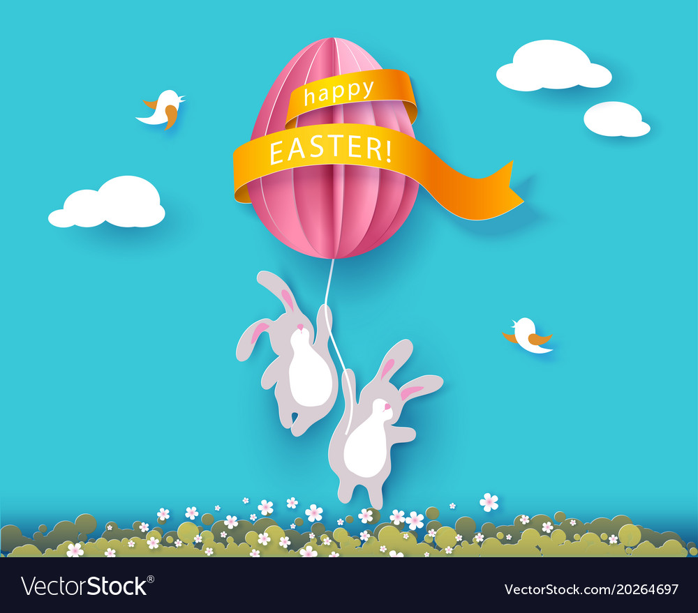 Happy easter card with banny flowers and egg