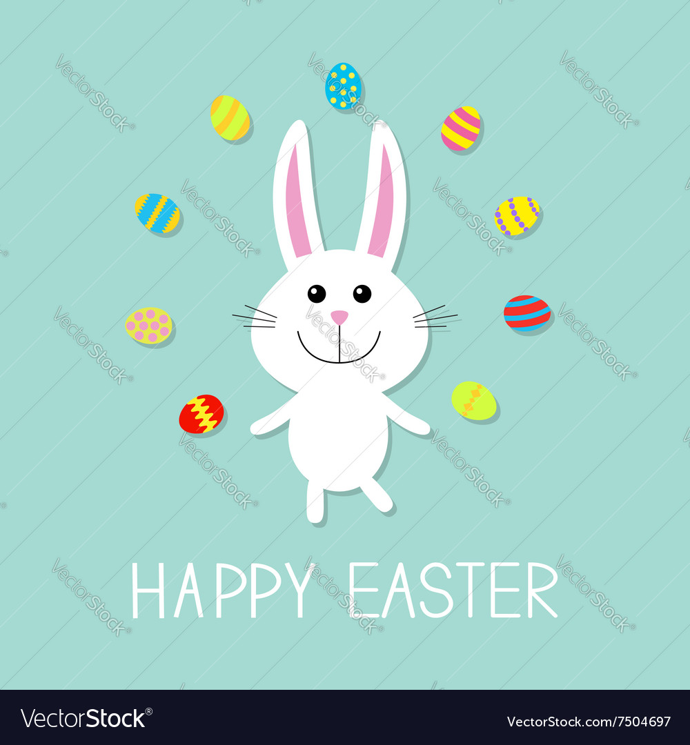 Happy Easter Cute bunny rabbit juggles egg Flat