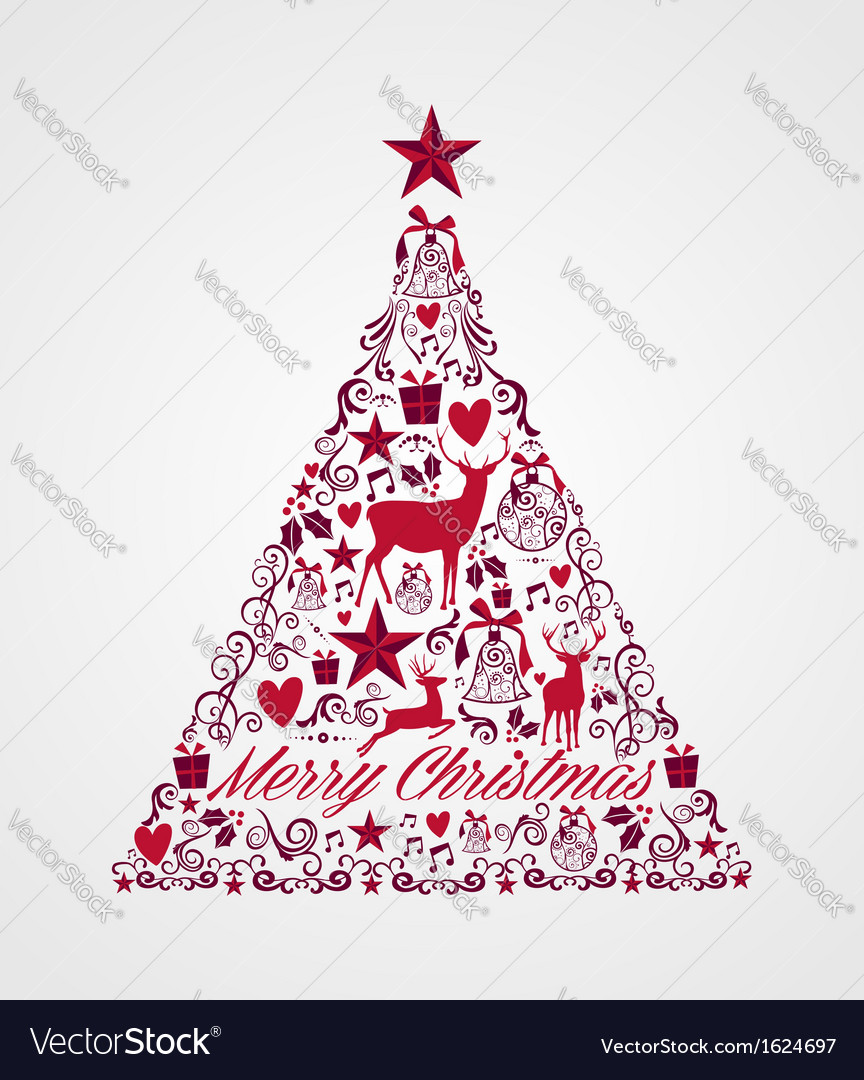 Merry christmas tree shape full of elements vector art download