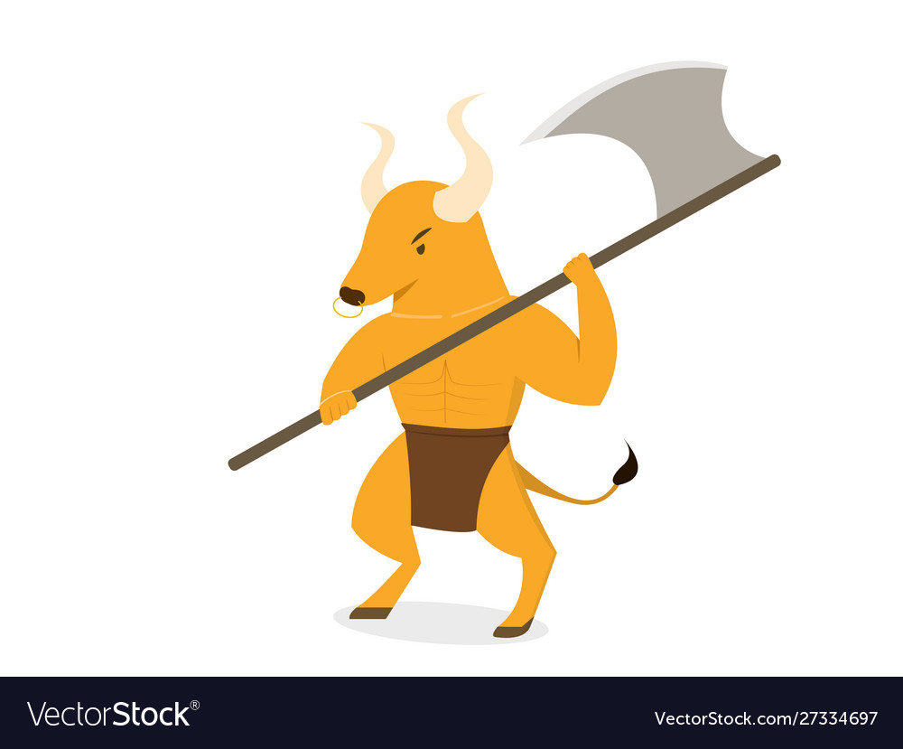 Minotaur with axe polearms in flat art