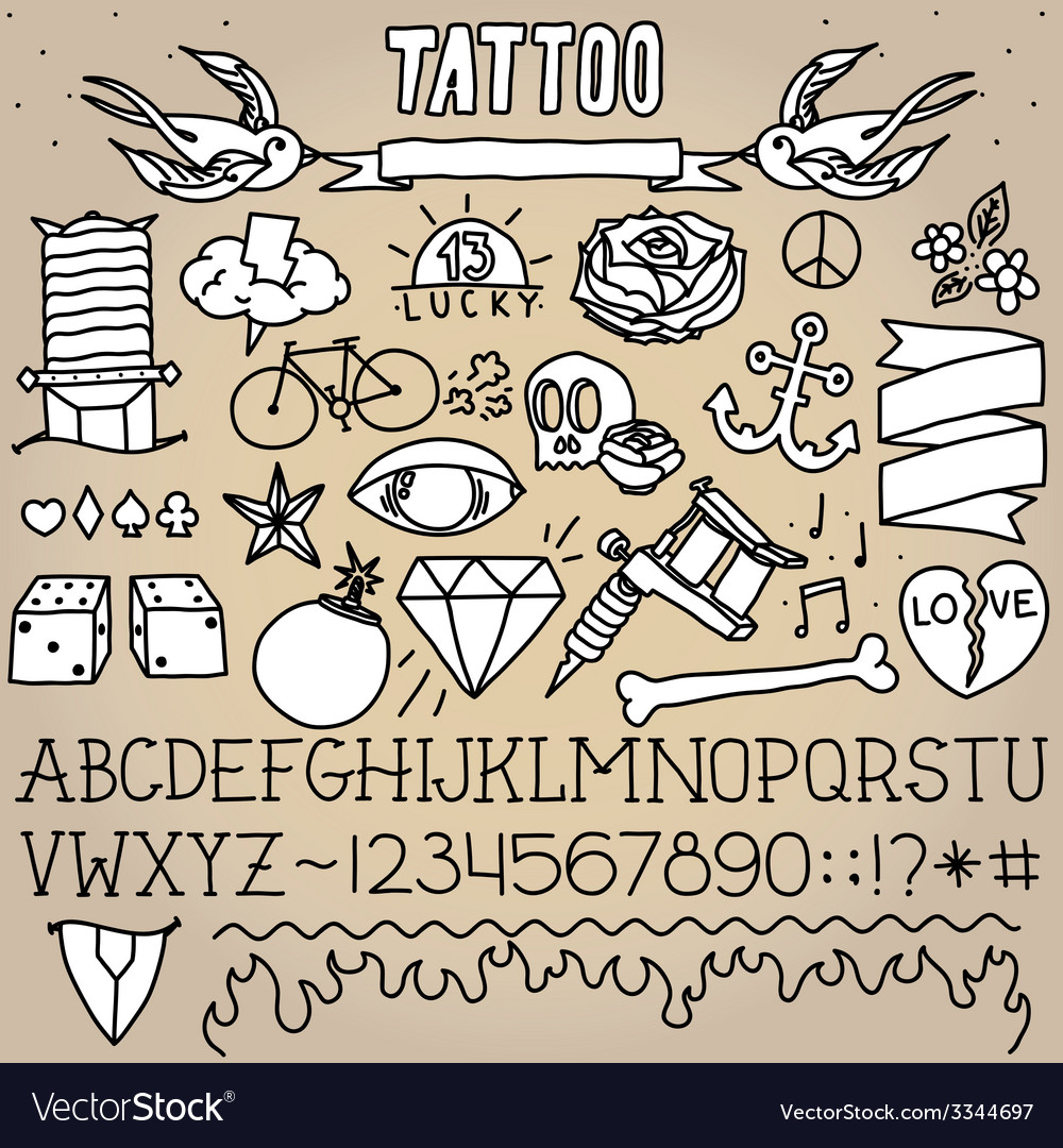 Old school tattoo objects pack