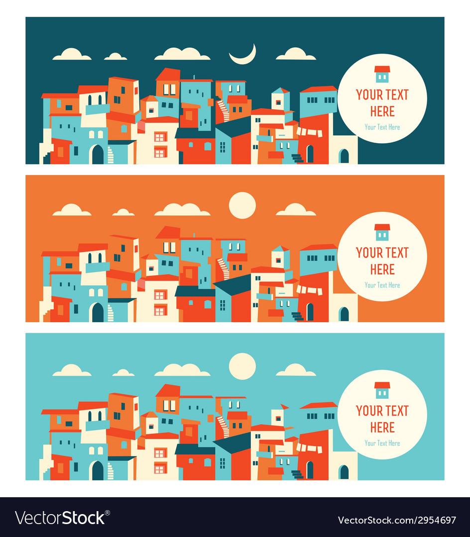 Seaside city in day and night landscape