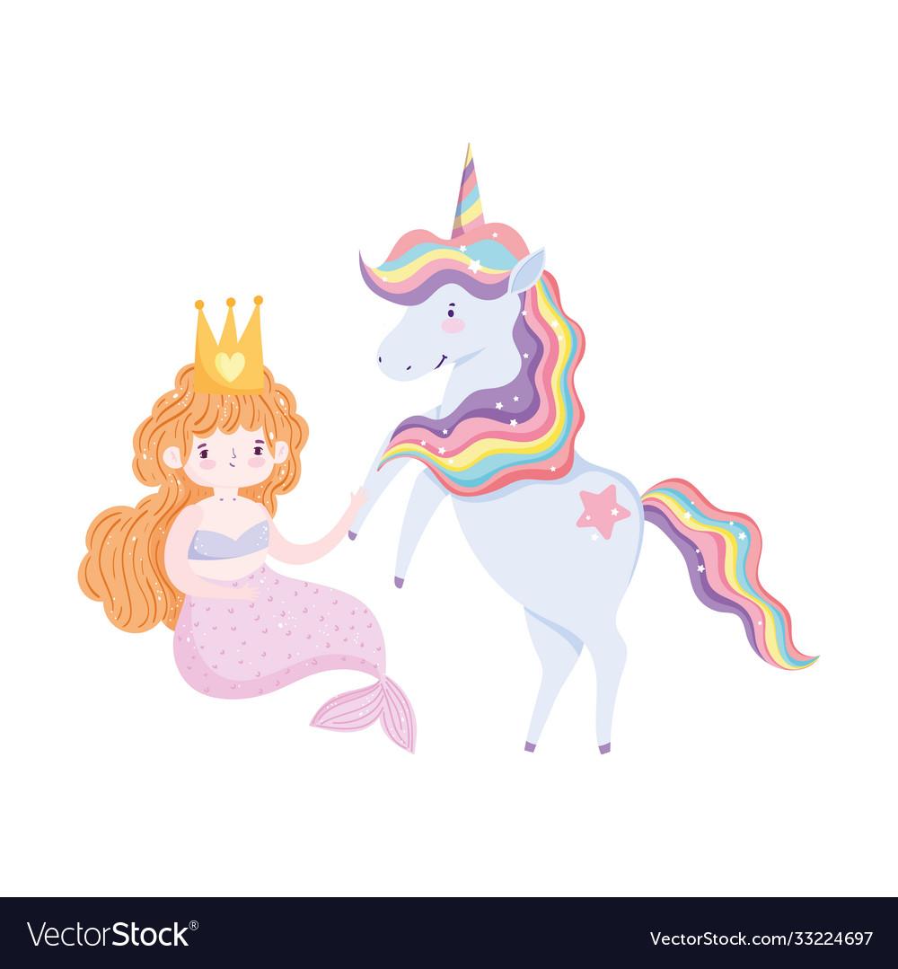 Unicorn and mermaid cartoon isolated icon design