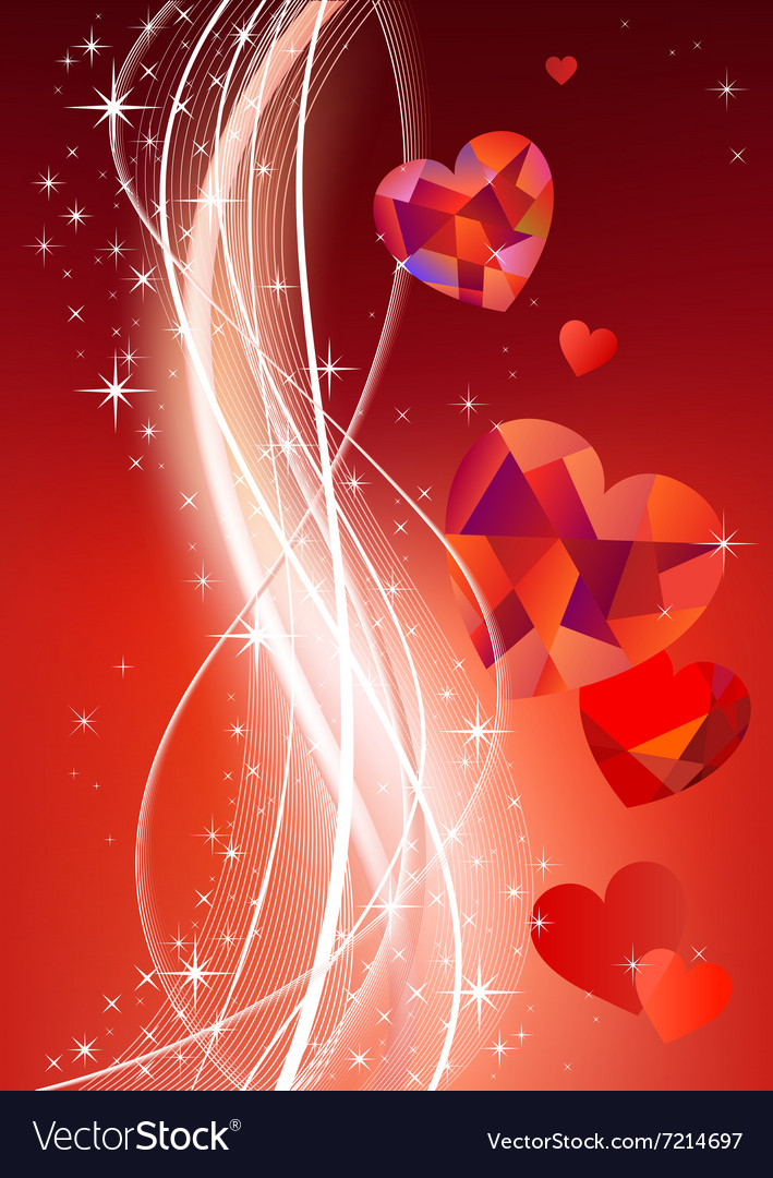 Valentines background with diamond hearts