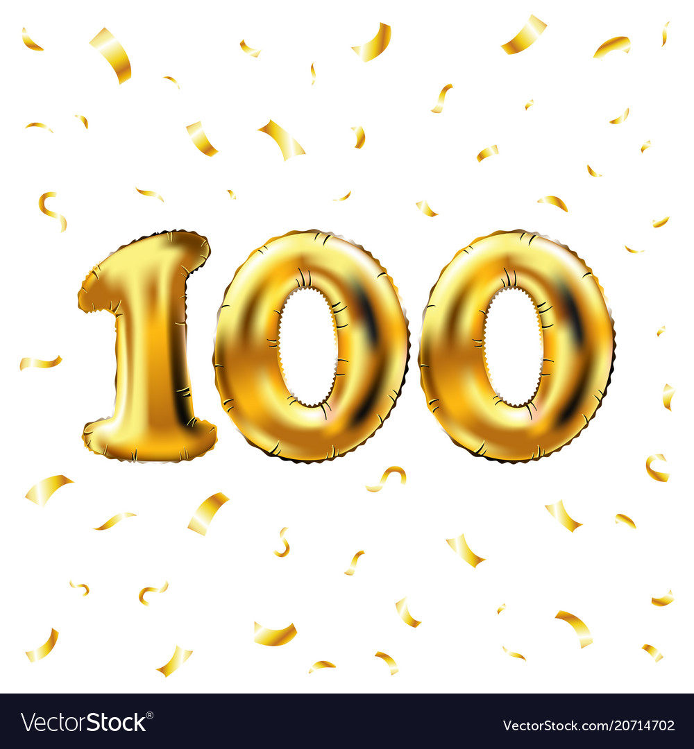100th celebration gold balloons and golden