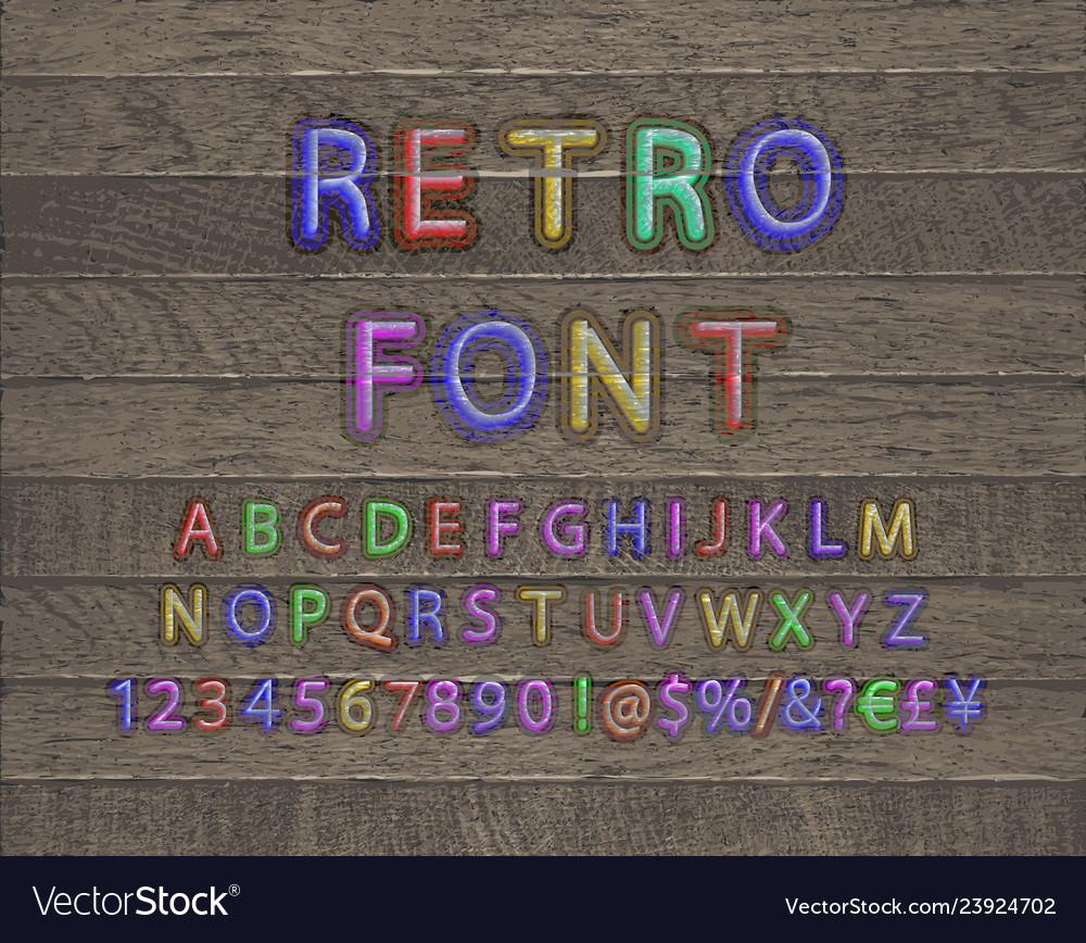 3d oblique retro font on wooden background