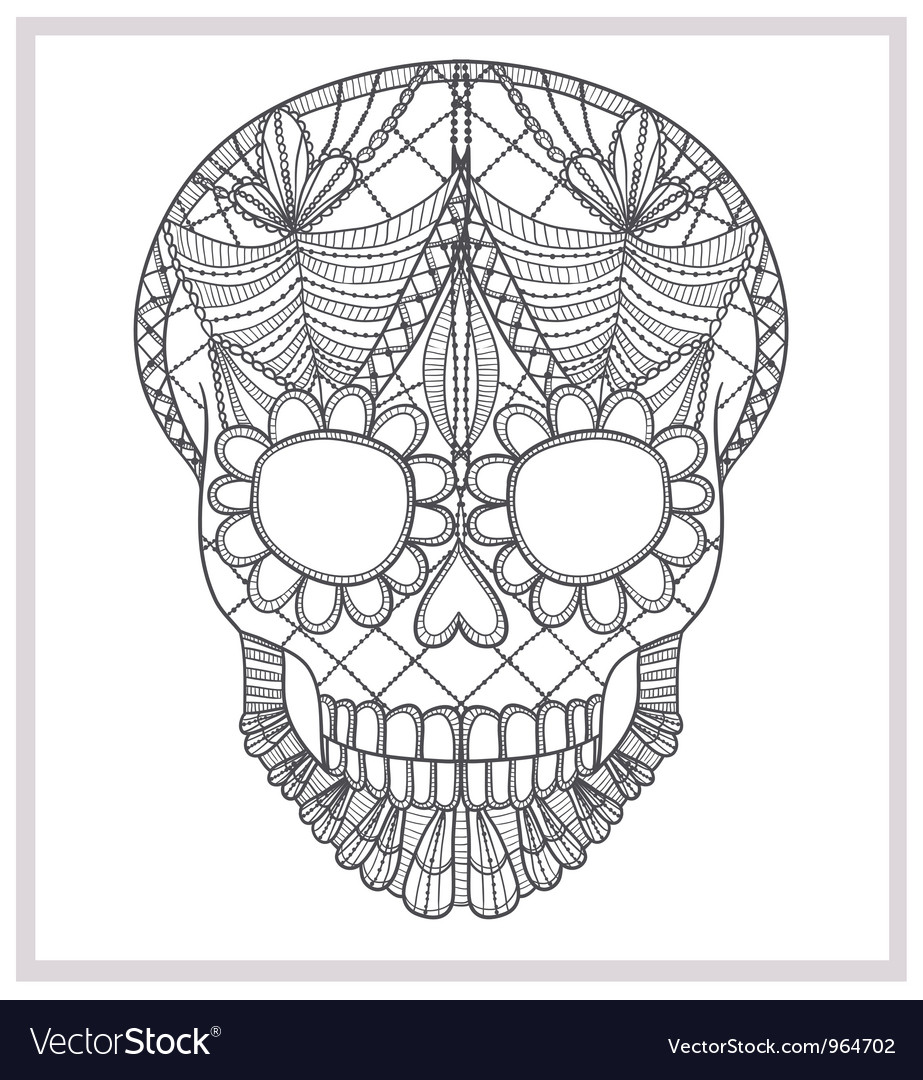 Abstract skull lace ornament