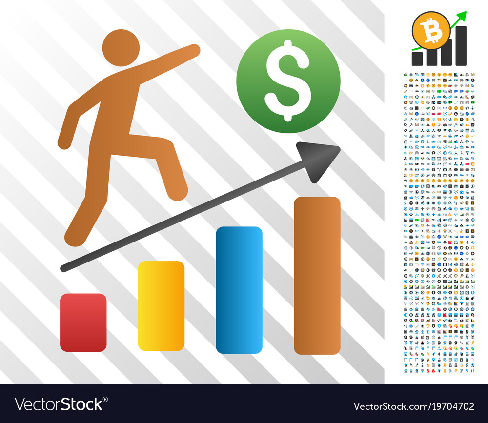 Businessman Growth Chart Flat Icon With Bonus Vector Image
