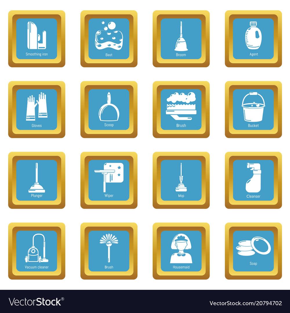 Cleaning tools icons set sapphirine square