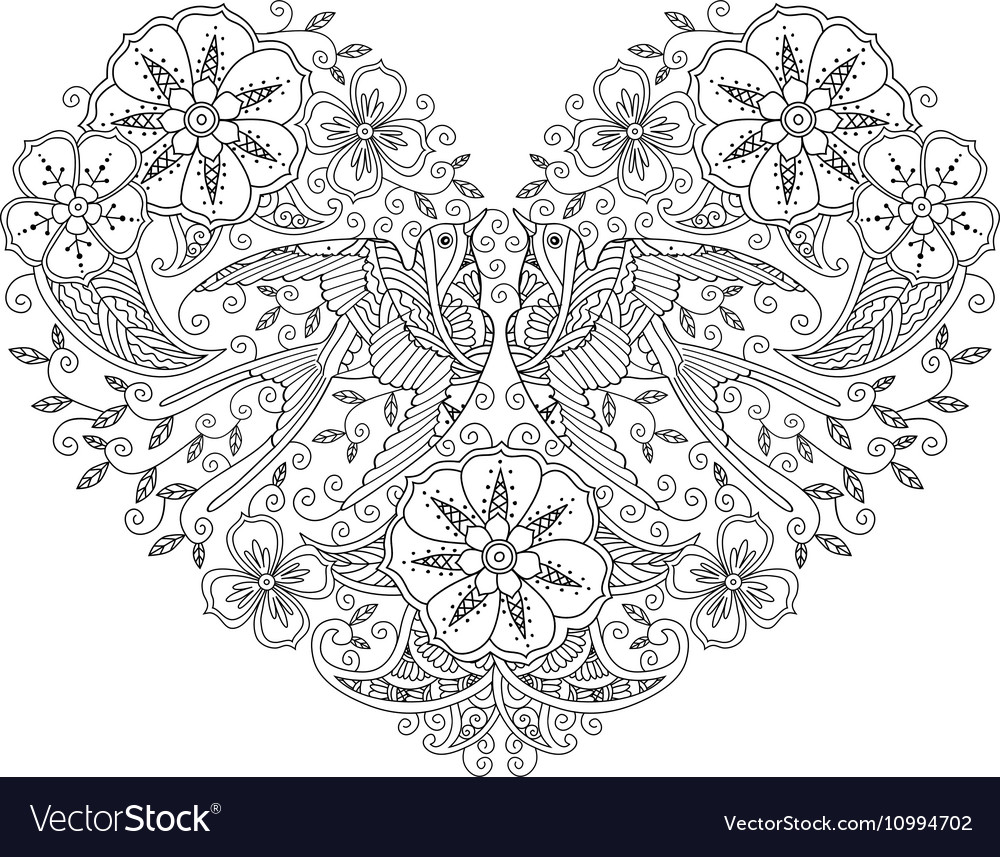 Coloring page with pair of beautiful flying birds