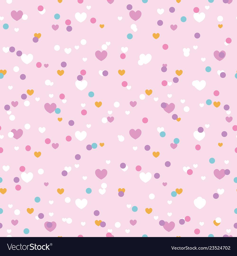 Cute confetti hearts seamless repeat pattern