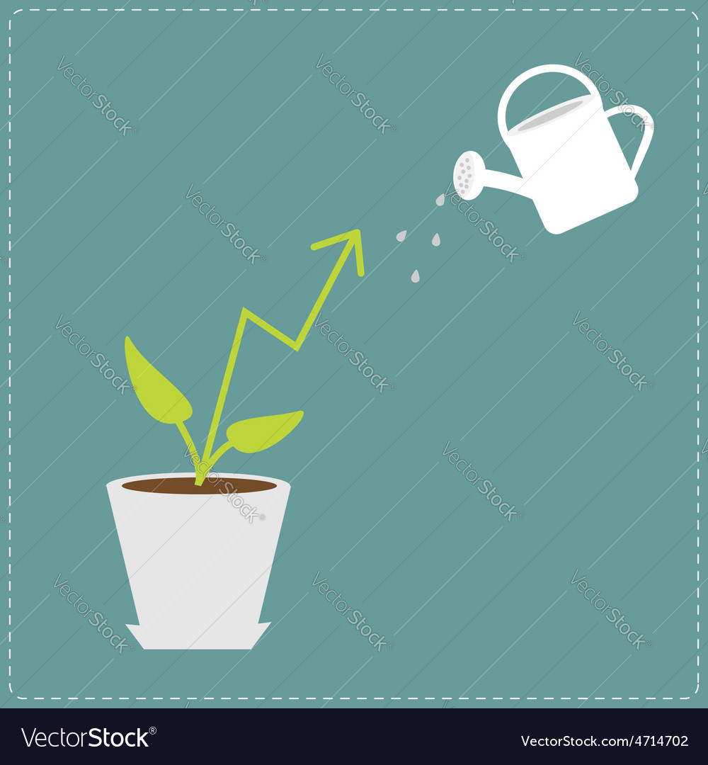 Diagram arrow plant in the pot and watering can vector image ccuart Image collections