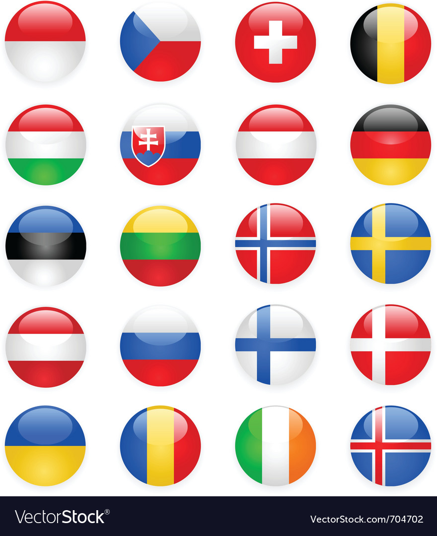Europe flags buttons part two