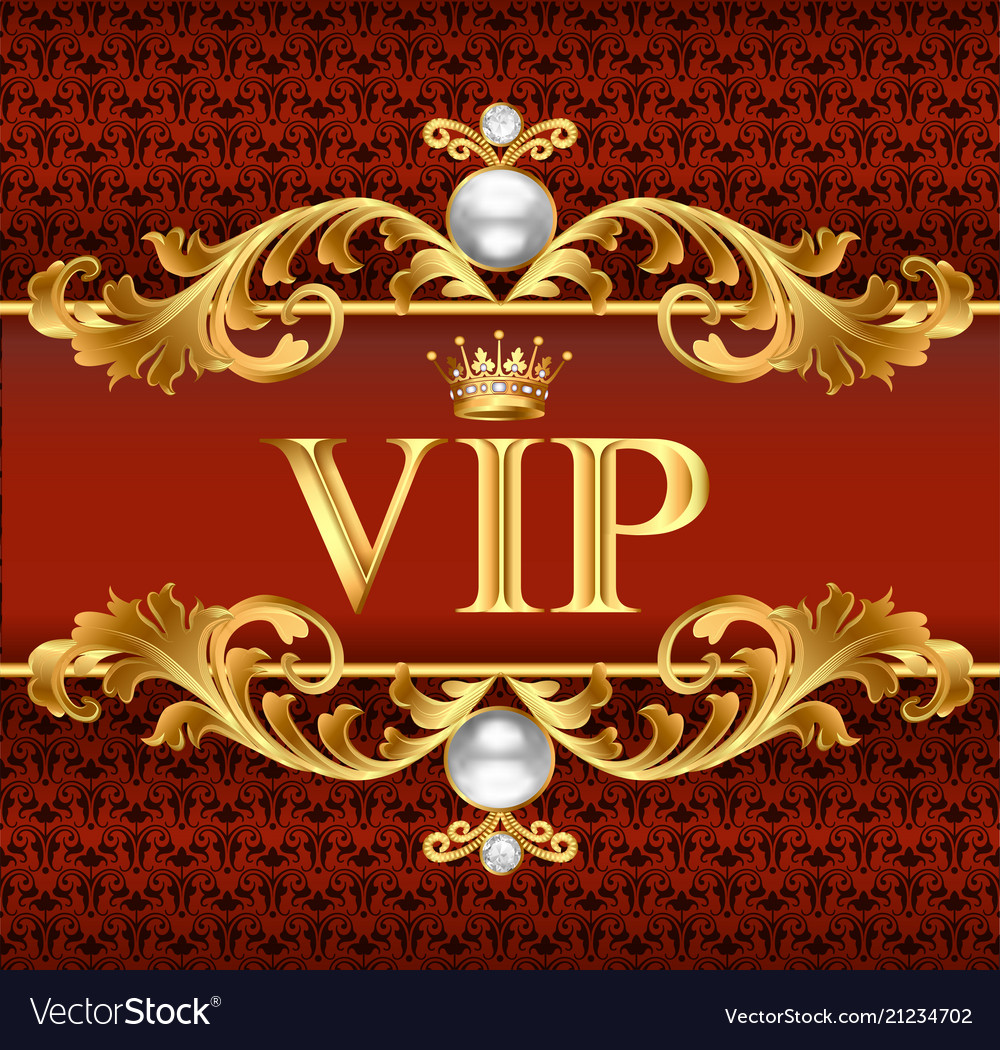 Gold vip card on red jewelry background Royalty Free Vector