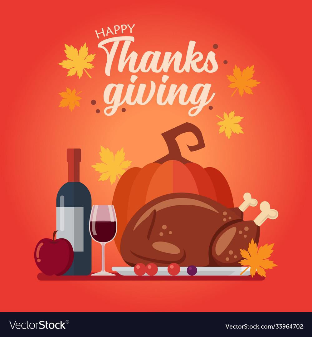 Happy thanksgiving dinner set