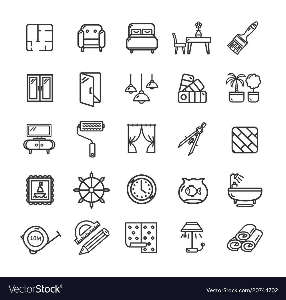 Home decor signs black thin line icon set vector image