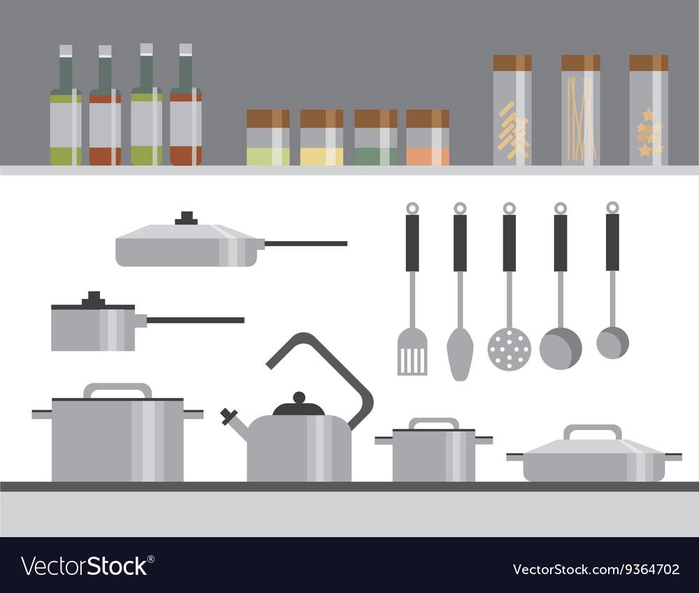 Kitchen Equipment Isolated Elements Flat