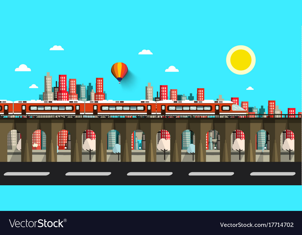 Modern train in city flat design town vector