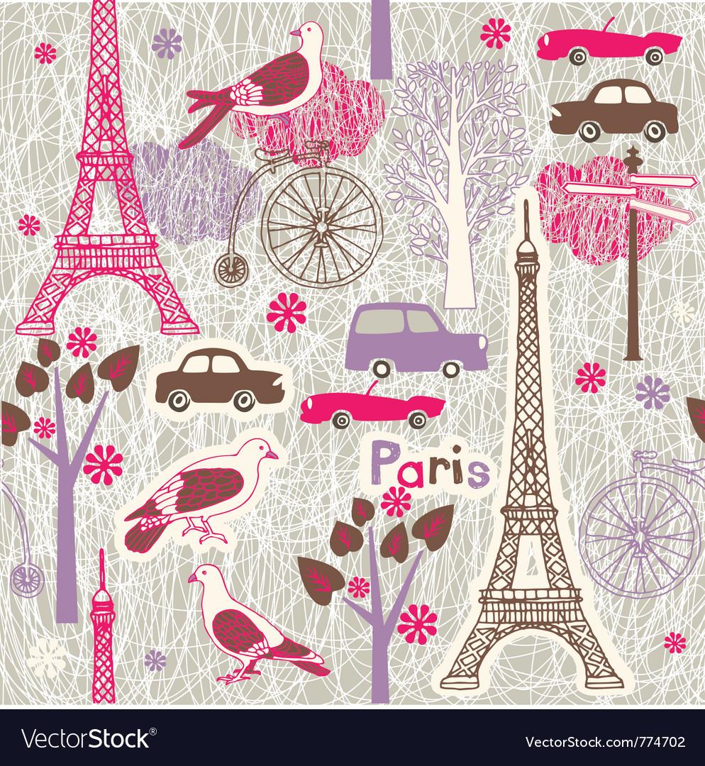 Paris vintage wallpaper vector image