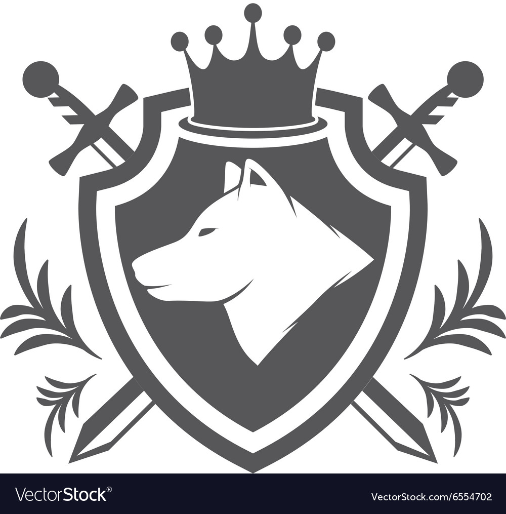 Shield with wolf design element
