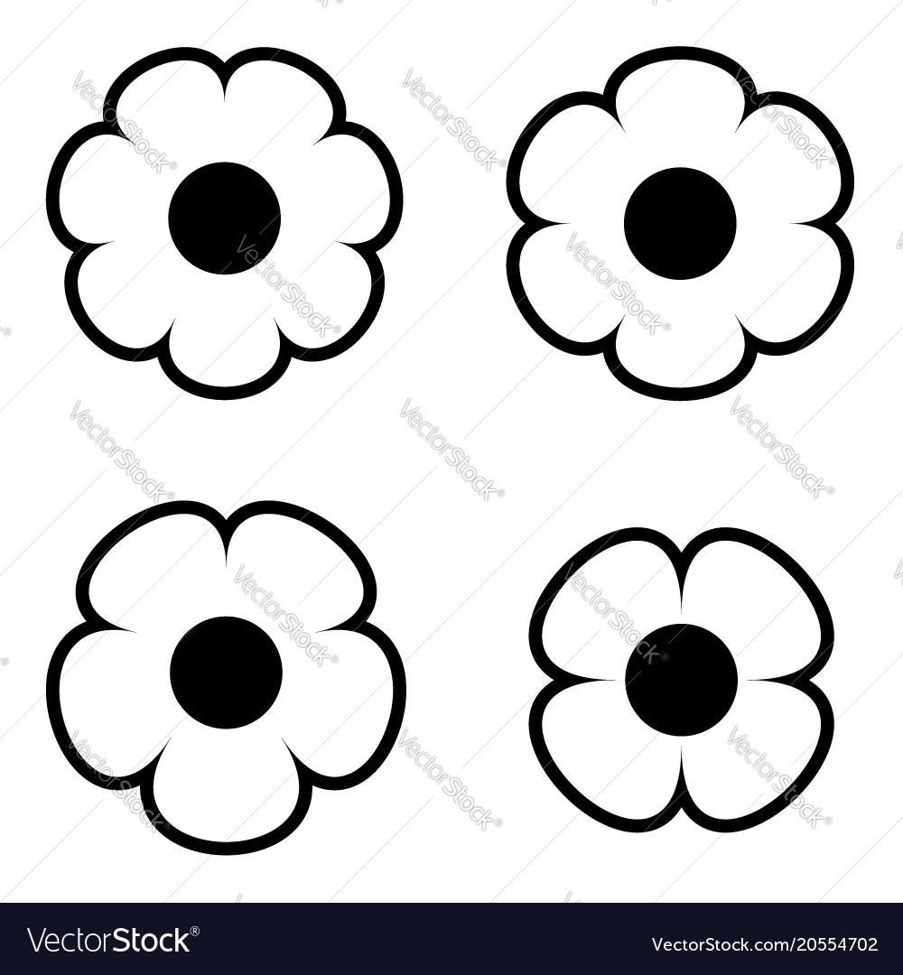 Simple black and white flower icon symbol logo set