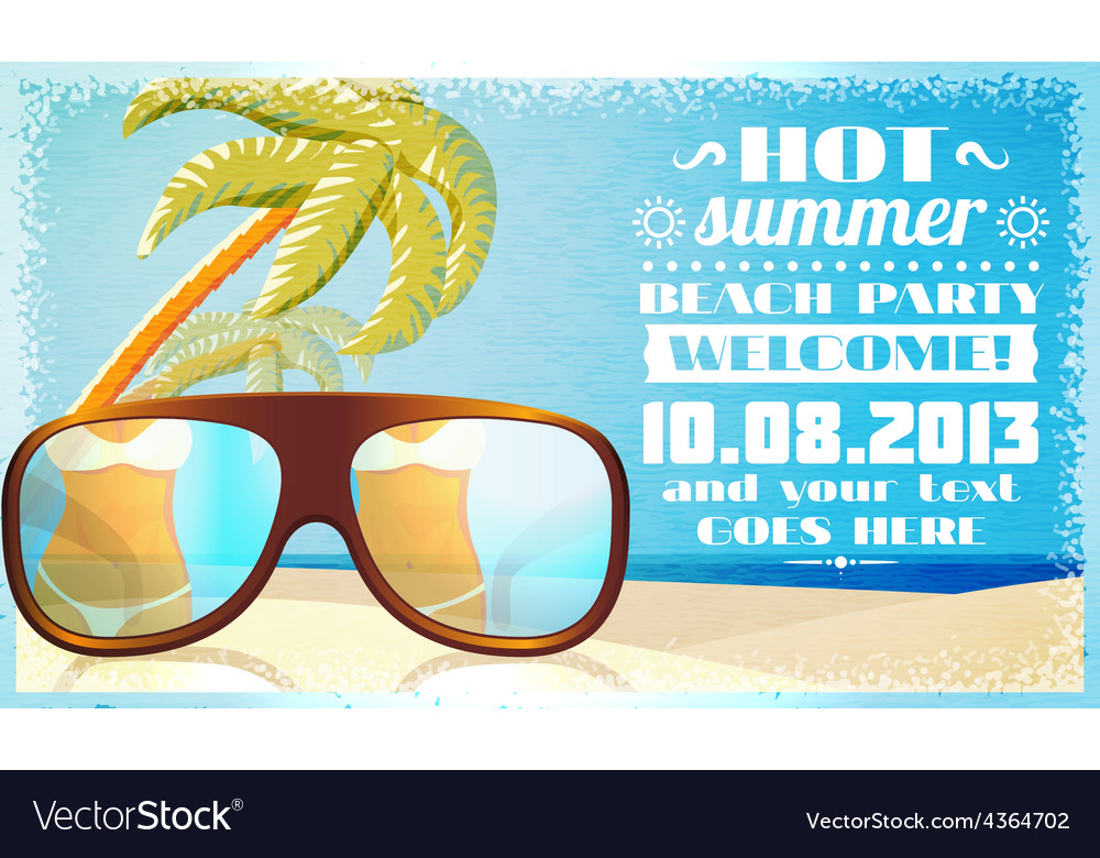 Summer beach party invitation glasses on the sand