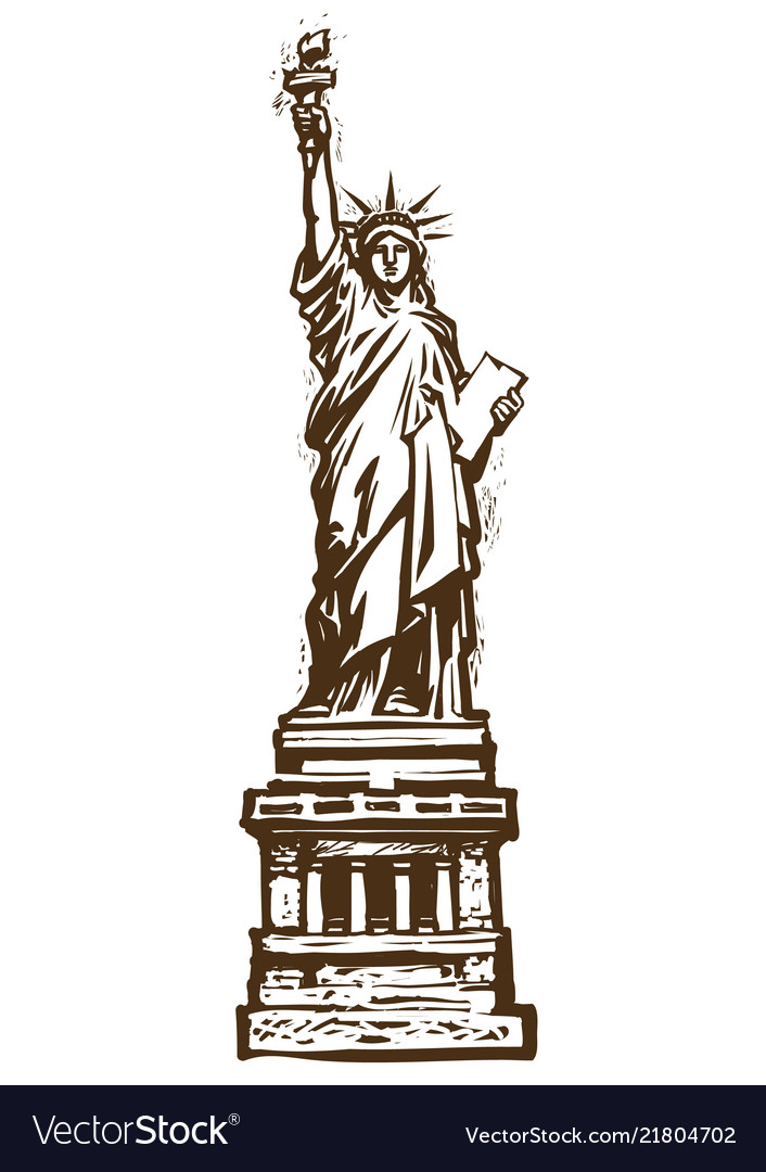 The statue of liberty engraving style sketch
