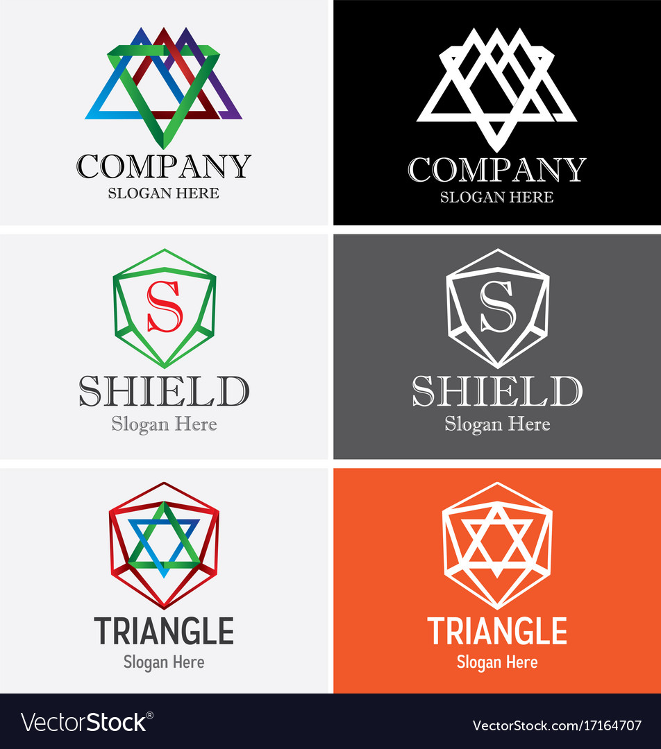 Abstract triangle logo set