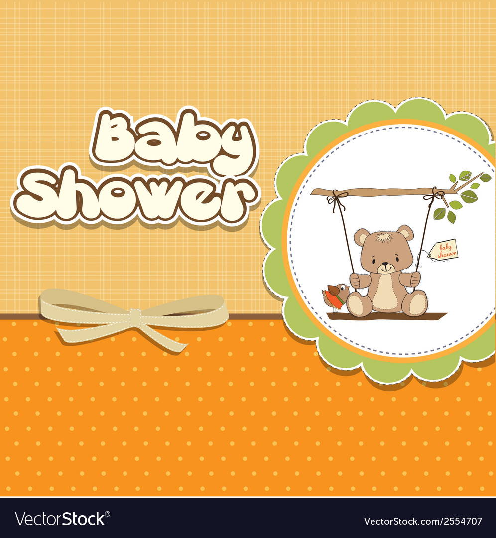 Baby Greeting Card With Teddy Bear Royalty Free Vector Image