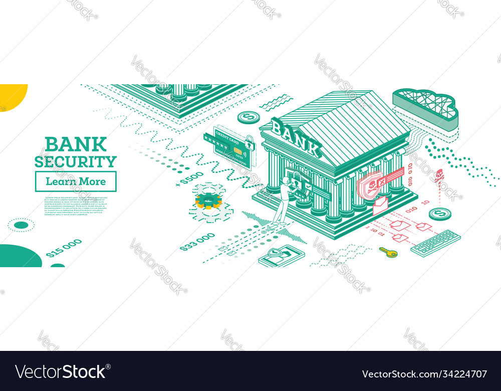 Bank security safe payment outline bank building