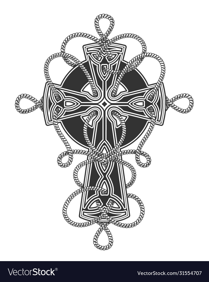 Celtic cross in ropes tattoo