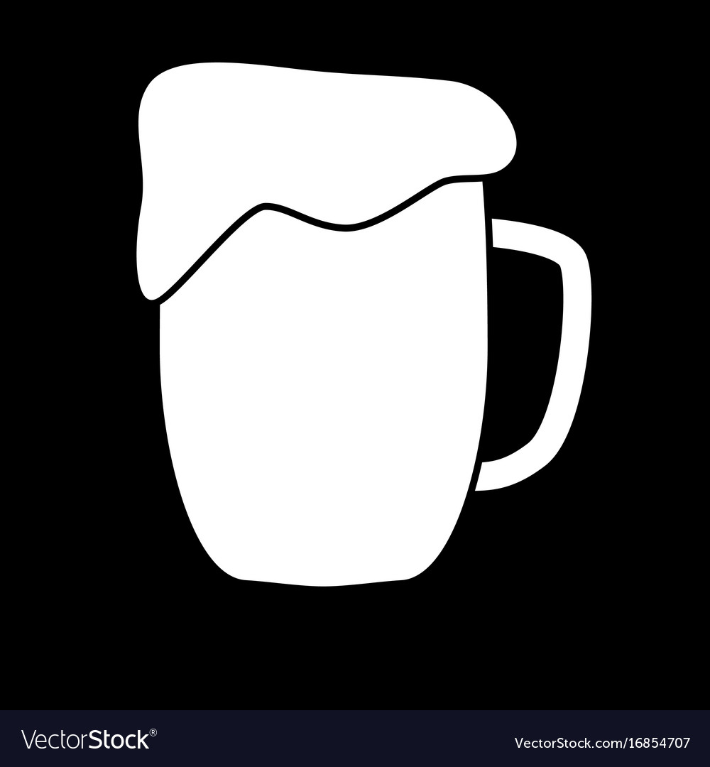 Cup beer white color icon