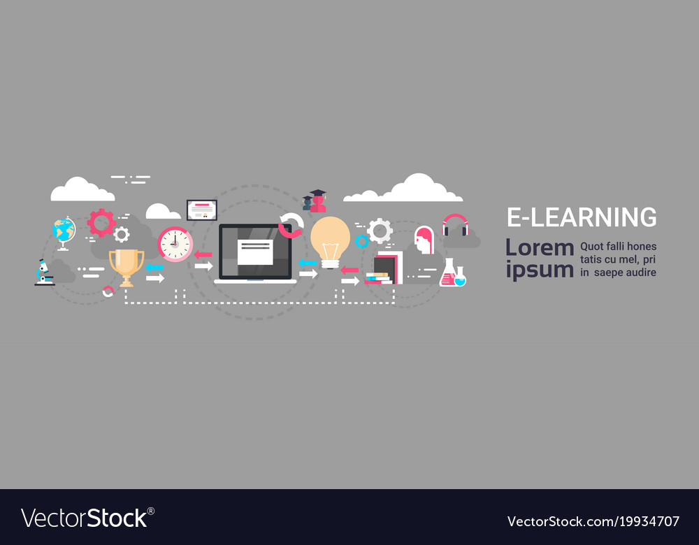 E-learning education online background with copy