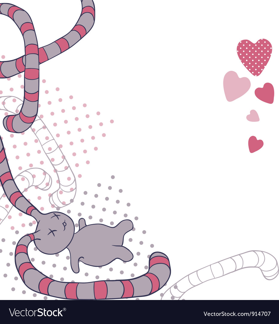 Funny background with doodle kawaii vector image