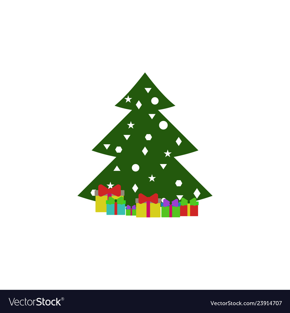 Gift christmas tree color icon element of
