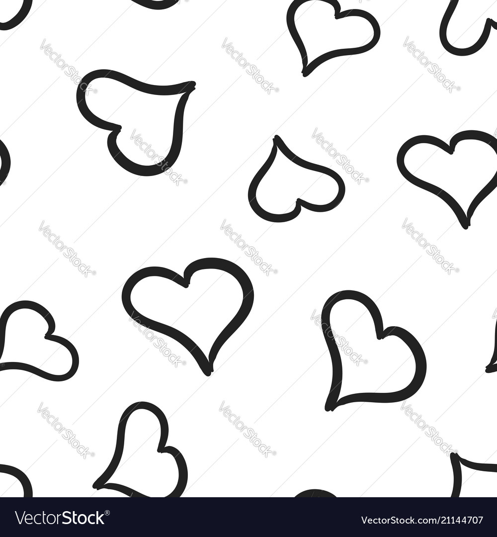 Hand drawn hearts icon seamless pattern