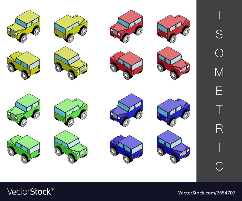 Isometric transport icon set