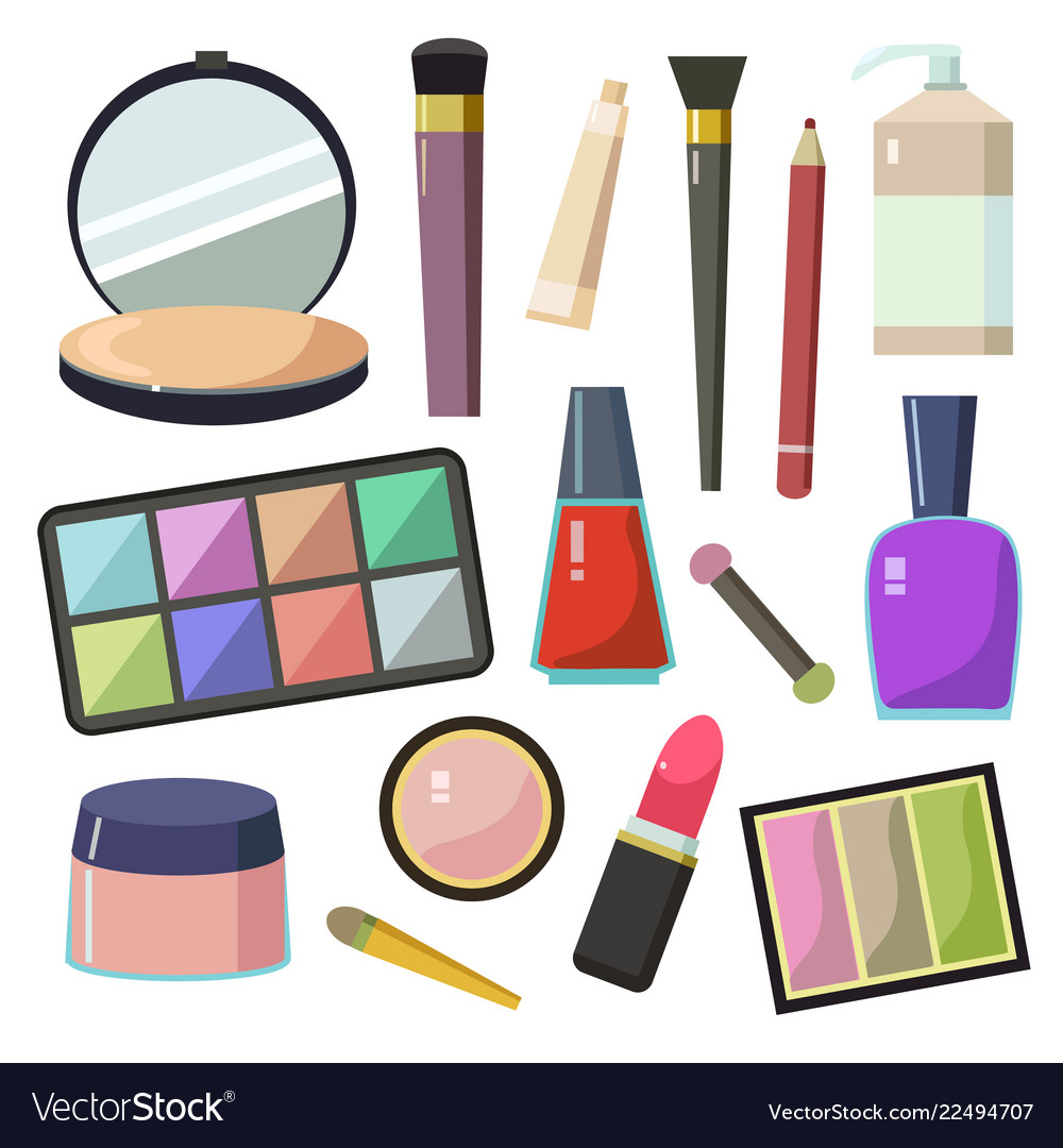 Large set of different cosmetic accessories