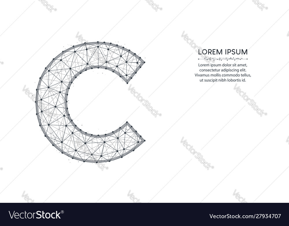 Letter c low poly design alphabet abstract