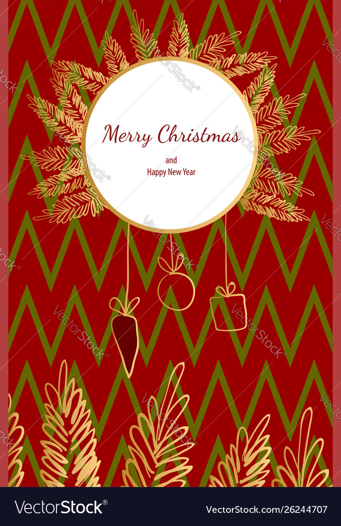 Merry christmas doodle card simple frame gift