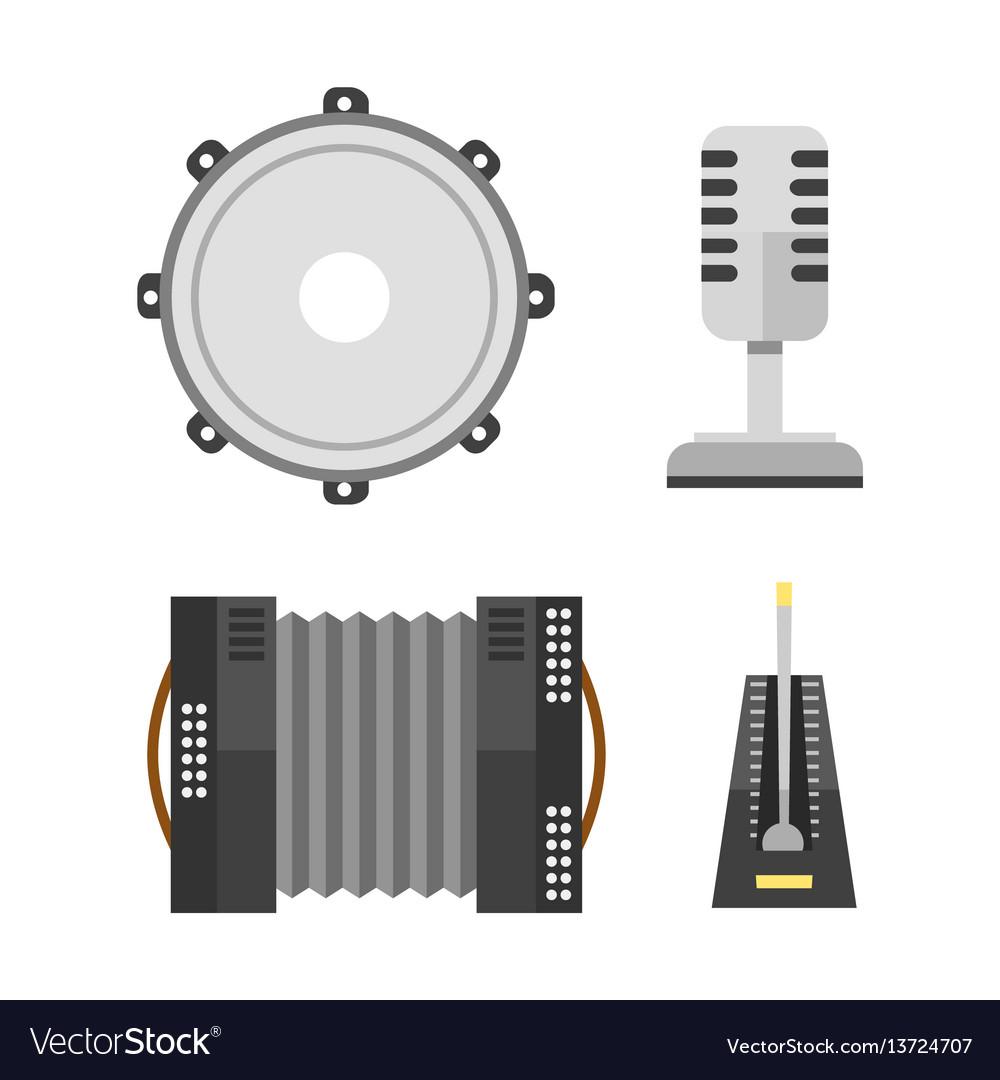 Piano keyboard accordion microphone tambourine vector image