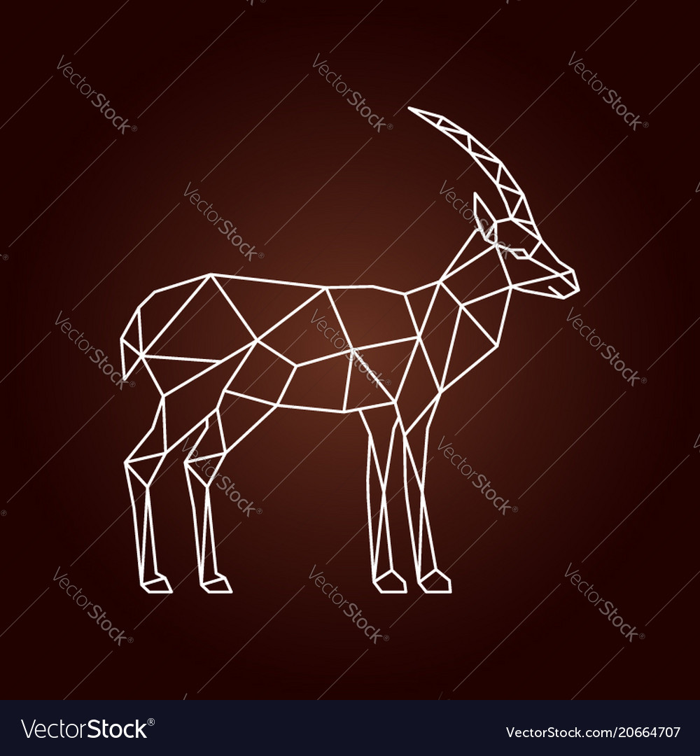Polygonal of a gazelle wild animal with side view