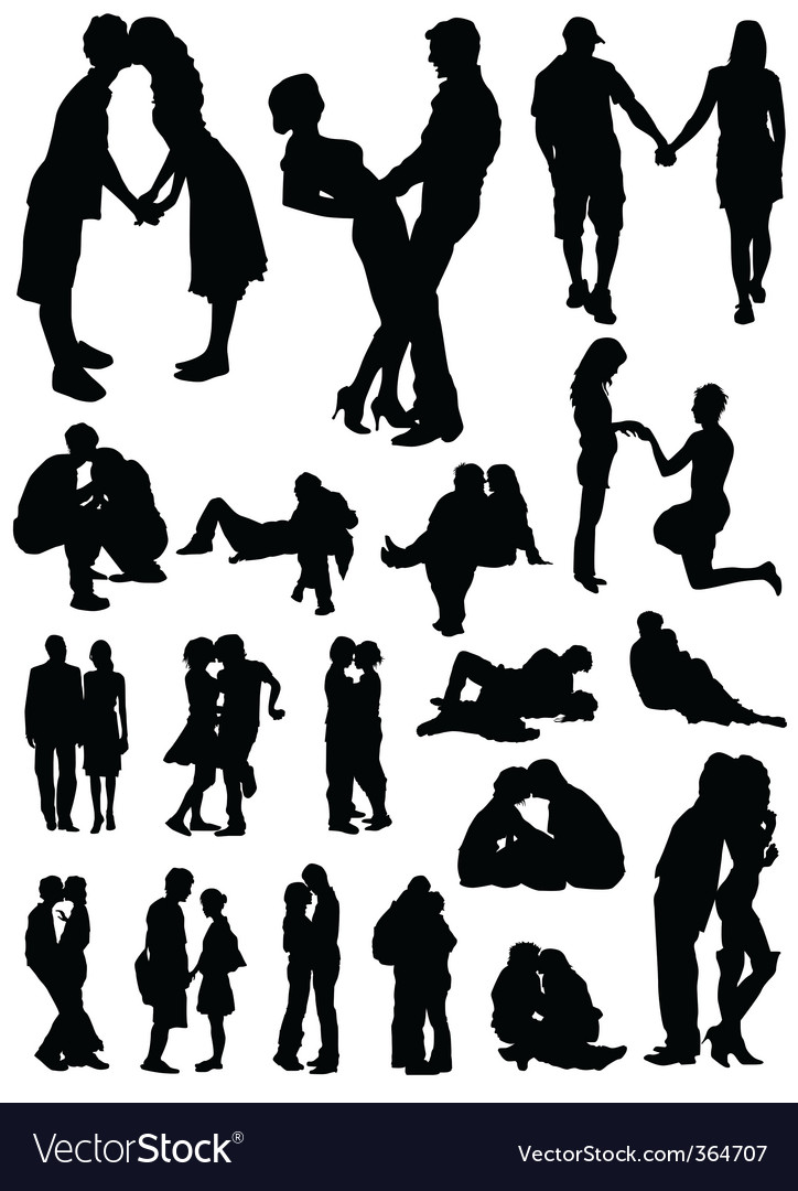 Romantic couples set vector image