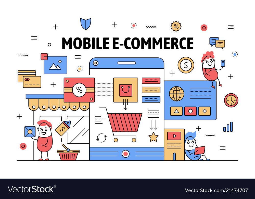 Thin line mobile e-commerce poster banner