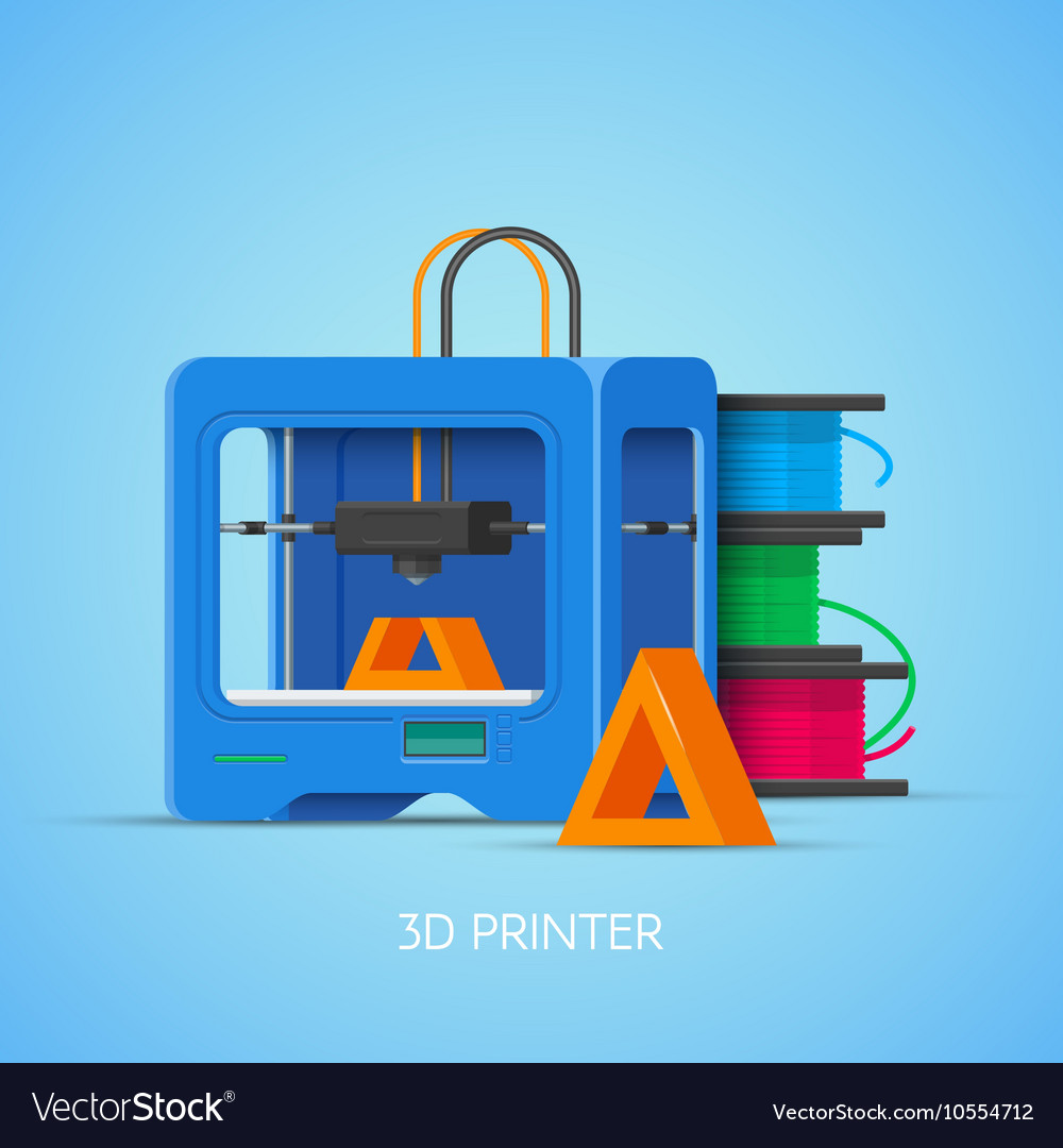3D printing concept poster in flat style