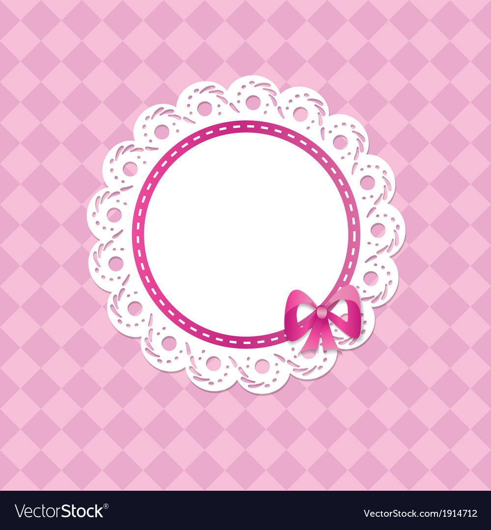 Baby card for a girl with a frame Royalty Free Vector Image