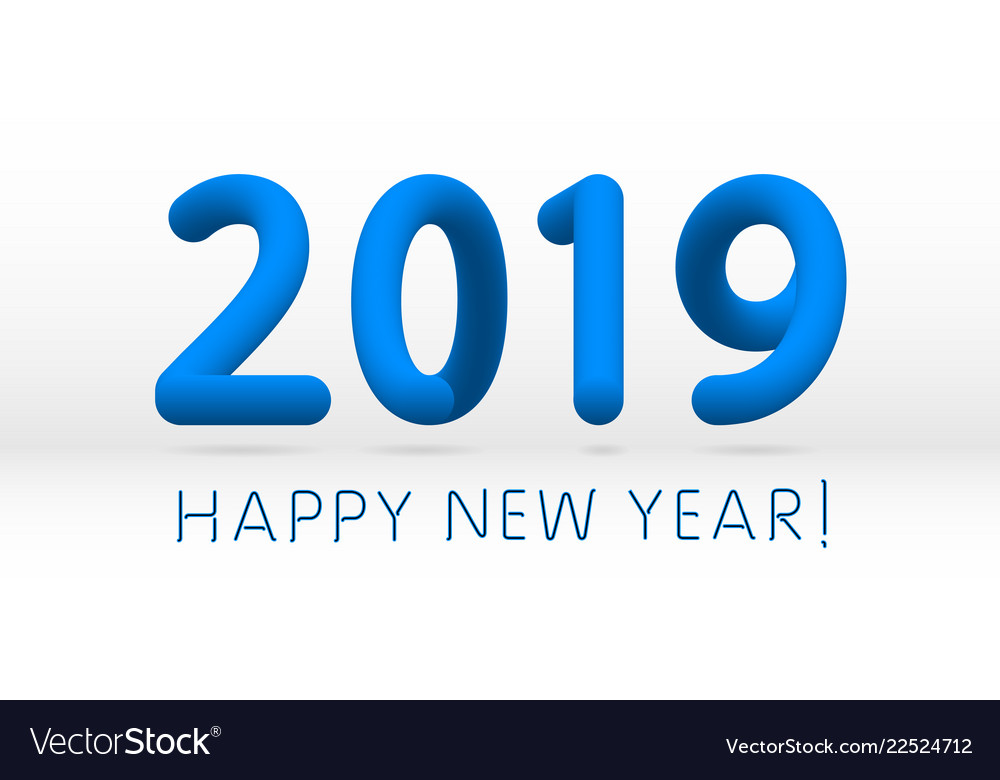 blue 2019 symbol happy new year isolated on white vector image