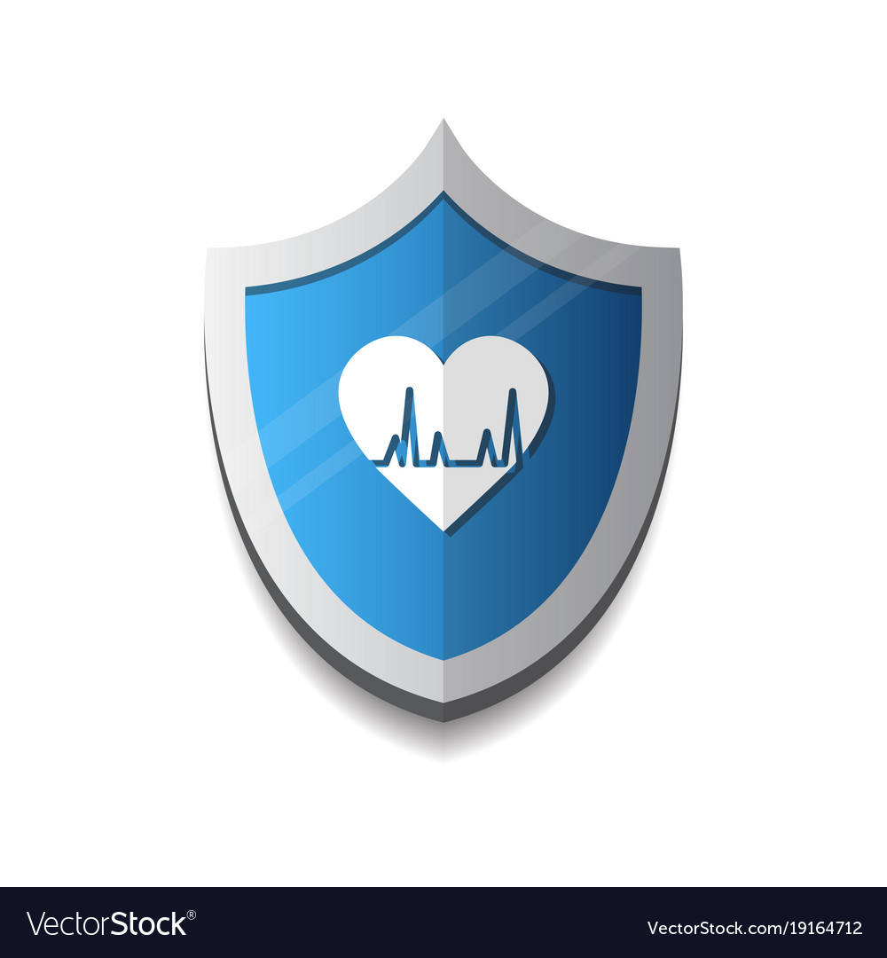 Cardiology protection heart shield icon blue